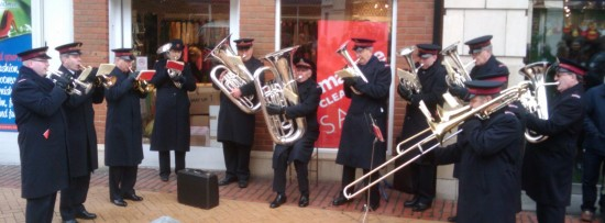 Salvation Army Band in Chelmsford playing Christmas Songs