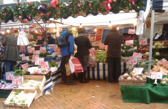 Saturday farmers market stall in Chelmsford town centre
