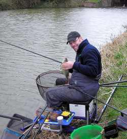 A guy fishing on a bank
