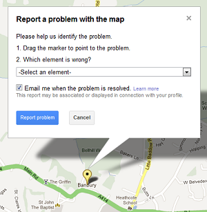 How to contact Google to fix a broken map