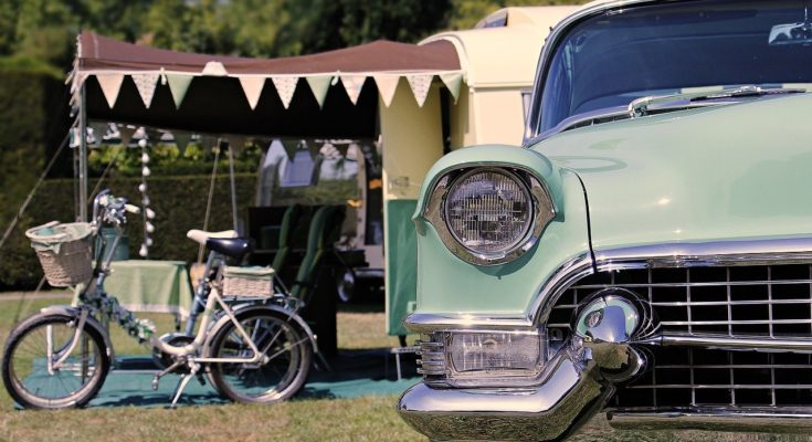 Essex campsite with classic car and caravan