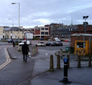 Site of the new retail development in Chelmsford. View from Bond Street towards Gap.