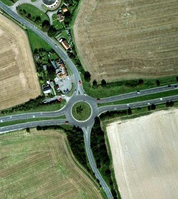 aeriel view of the A120 / B1035 junction in Essex