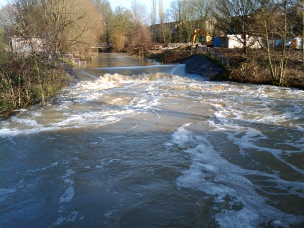 River Chelmer beside Chelmsford's Riverside Retail Park