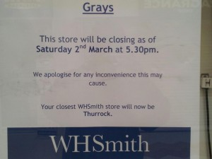WHSmith In Grays Closing Down On 2nd March 2013