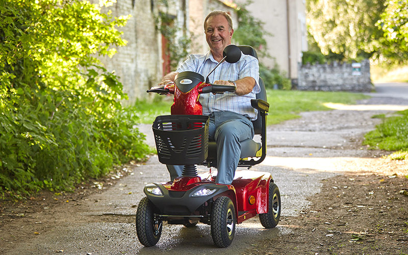 Man riding an Abilize mobility scooter in Essex