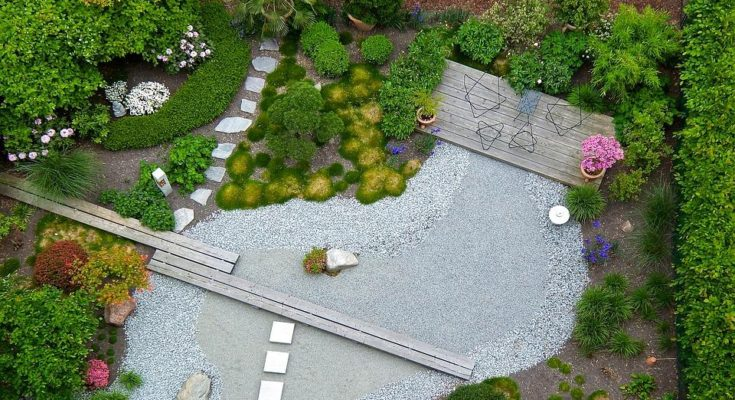 landscaped garden view from above in Essex with grey gravel and colourul borders