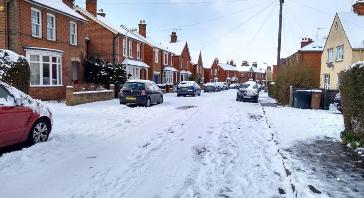 snow on the roads in Essex