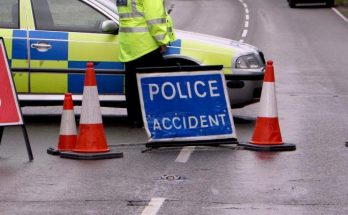police accident sign on Essex road