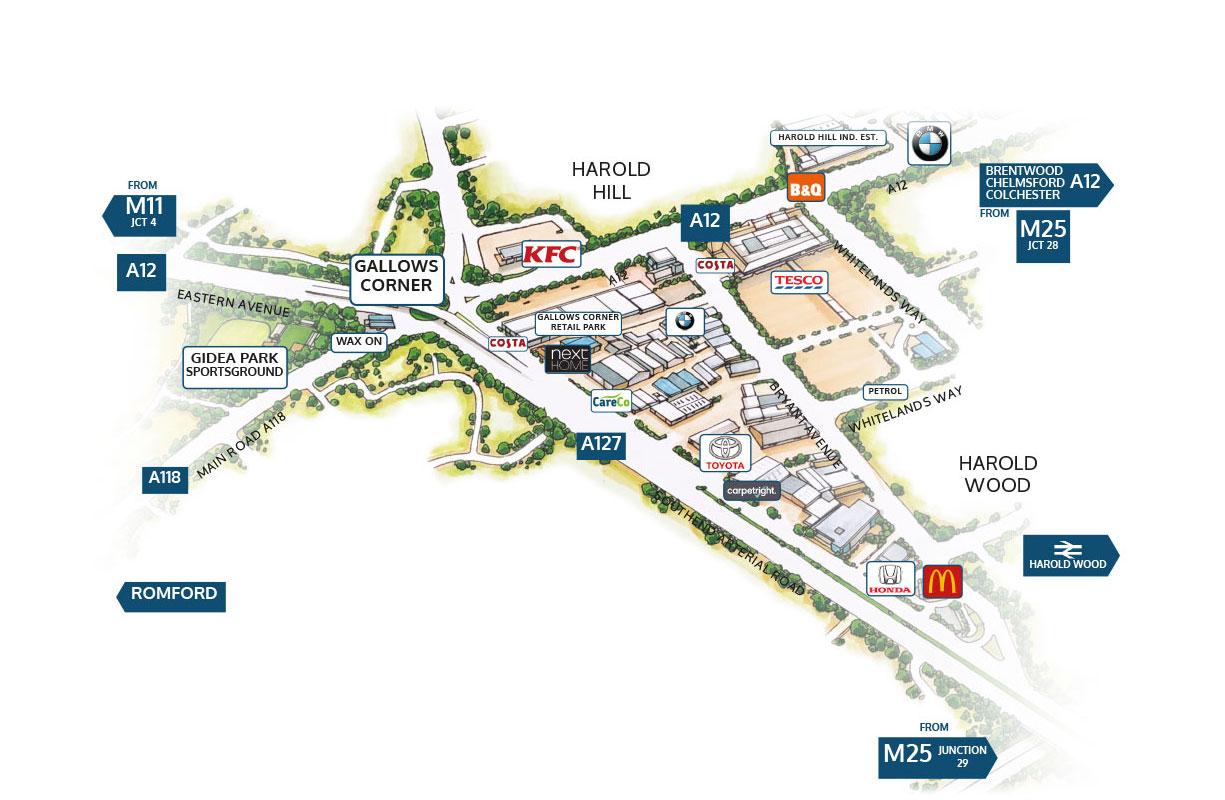 CareCo Romford map